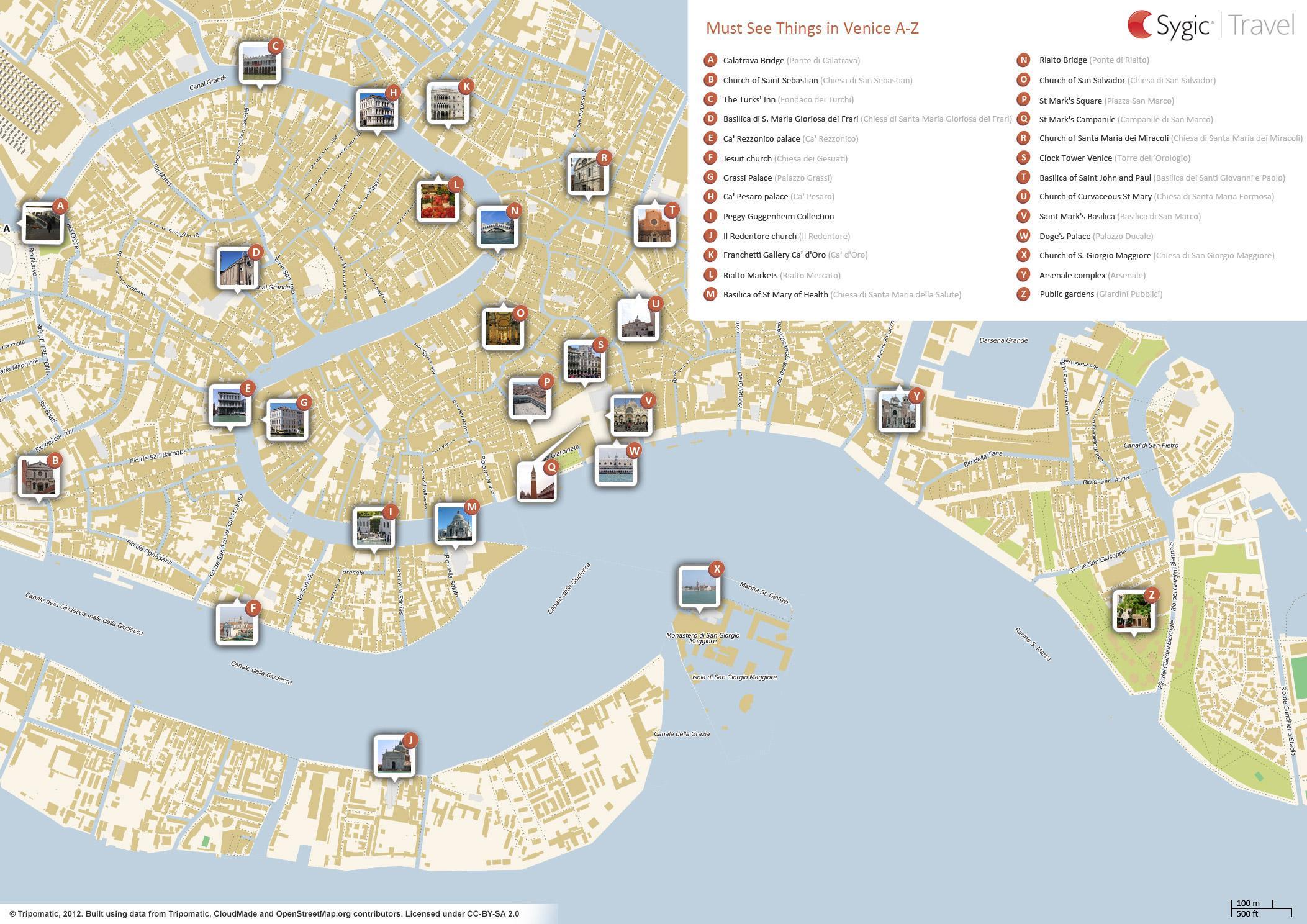 Veneția Harta Obiectivelor Turistice Venezia Harta Obiectivelor